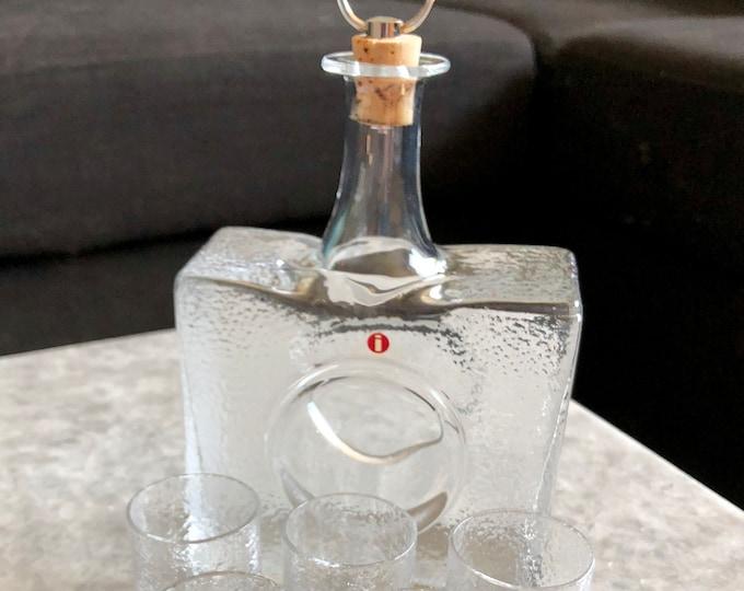 Tapio Wirkkala 2529 'Mini Bottle' Carafe + 6 Shot Glasses - Finnish Mid-Century Modern Glass Design From Iittala, Finland