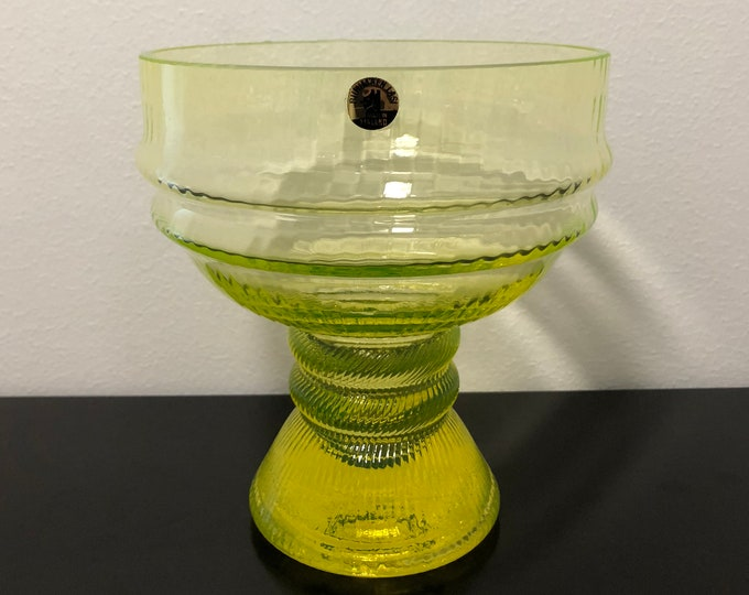 Nanny Still 'Sulttaani' (Sultan) Yellow Art Glass Bowl - Finnish Mid-Century Modern Vintage Glass Design from Riihimäen lasi, Finland