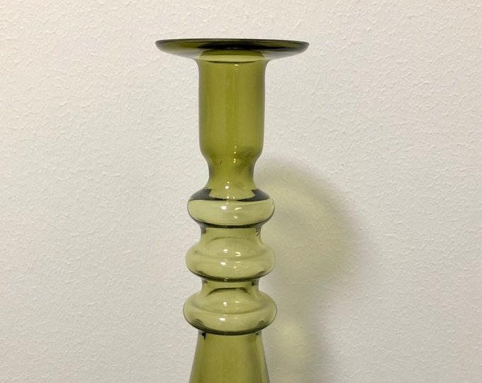 Nanny Still 'Pagoda' Olive Green Candleholder - Finnish Mid-Century Modern Glass Design from Riihimäen lasi, Finland