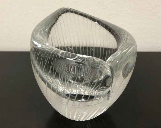 Tapio Wirkkala Line Cut 3572 Art Bowl - Finnish Mid-Century Modern Vintage Design Glass from Iittala, Finland