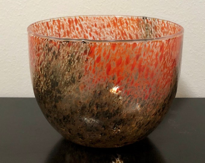 "Oiva Toikka Art Glass Bowl ""Tunturissa, Ruska"" (In the mountain in Lapland, Fall Colours) - Mid-Century Modern Design from Nuutajärvi"