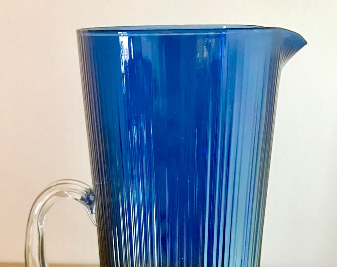 Tapio Wirkkala Blue Glass Pitcher (model 2465) - Finnish Vintage Design From Iittala, Finland