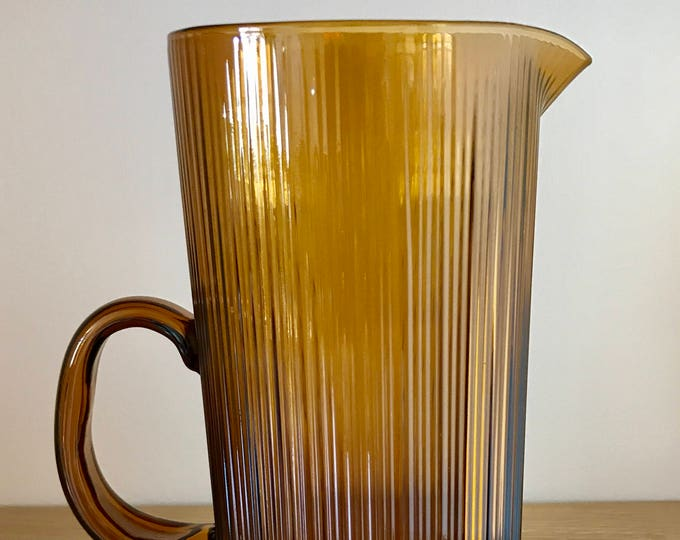 Tapio Wirkkala Brown Glass Pitcher (model 2465) + 3 Brown Drinking Glassess