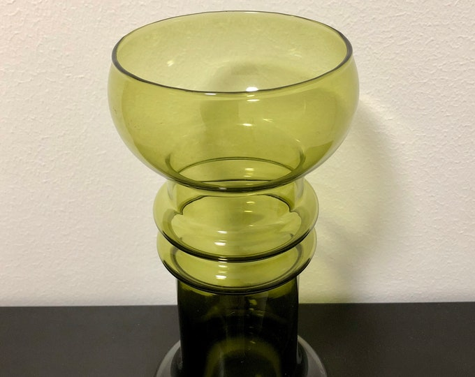 Tamara Aladin 'Kielo' (Lily of the Valley) Olive Green Glass Vase - Finnish Vintage Glass Design from Riihimäen lasi, Finland
