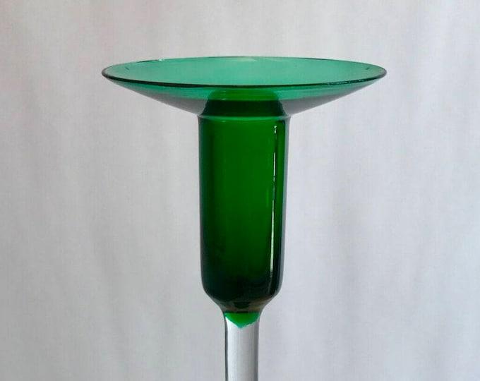 Nanny Still Green Harlequin Candleholder - Finnish Mid-Century Modern Vintage Glass Design from Riihimäen lasi, Finland