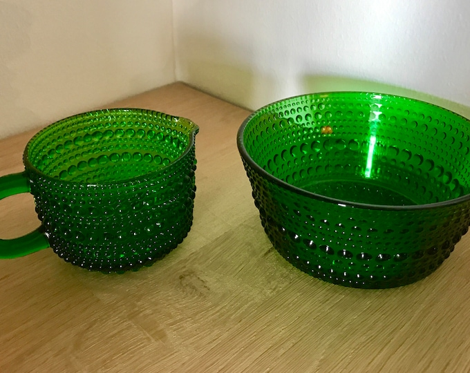 Oiva Toikka Green 'Kastehelmi' (Dew Pearl) Creamer and Sugar Bowl - Finnish Vintage Glass Design From Nuutajärvi/Iittala, Finland