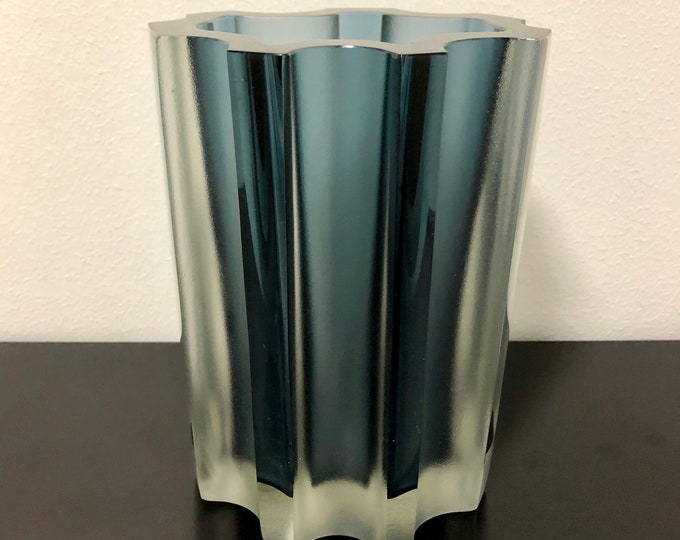 Tapio Wirkkala 3502 Dimmed Light Blue Art Vase - Finnish Vintage Design Glass from Iittala, Finland
