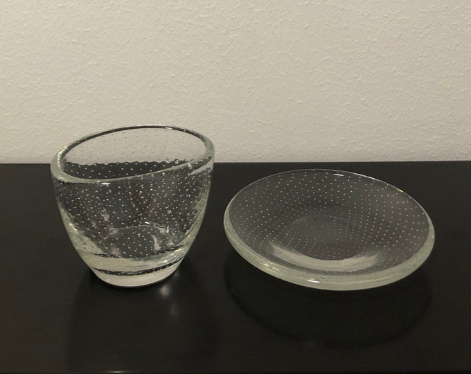 Gunnel Nyman 'Pore' (Bubble) GN1 and GN2 Cigar Holder & Astray - Finnish Mid-Century Modern Vintage Glass Design from Nuutajärvi, Finland
