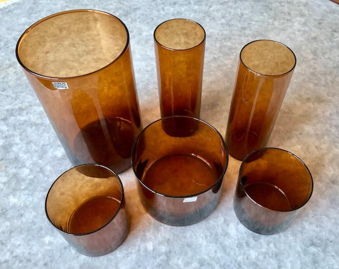 Kaj Franck Brown 'Purtilo' Jars (set of 6 jars) - Finnish Vintage Glass Design from Arabia/Nuutajärvi, Finland