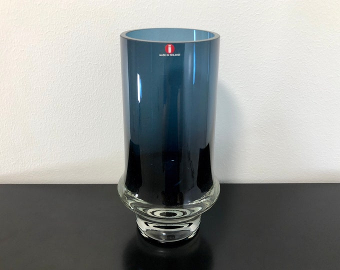 Tapio Wirkkala 3581 Blue Crystal Glass Vase (Tallest Model) - Finnish Mid-Century Modern Vintage Art Glass Design From Iittala, Finland
