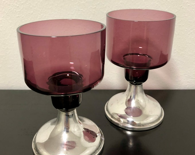 Sirkku Kumela-Lehtonen Candleholders with Silver Stand (set of 2) - Finnish Vintage Glass Design from Kumela