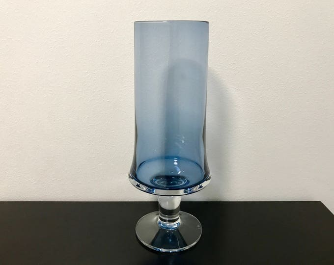 Tapio Wirkkala 2727 Blue Glass Vase (Taller) - Finnish Mid-Century Modern Vintage Art Glass Design From Iittala, Finland