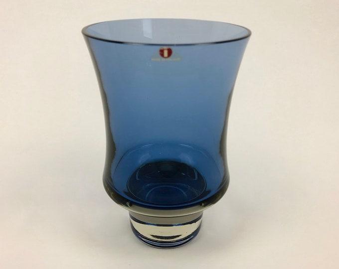 Tapio Wirkkala 3589 Blue Crystal Glass Vase - Finnish Mid-Century Modern Vintage Art Glass Design From Iittala, Finland