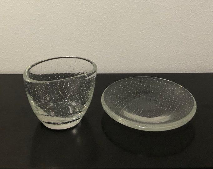 Gunnel Nyman 'Pore' (Bubble) GN1 and GN2 Cigar Holder & Astray - Finnish Mid-Century Modern Vintage Glass Design from Nuutajärvi, Finland