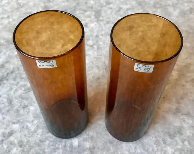 Kaj Franck Brown 'Purtilo' Jars (set of 2 jars) - Finnish Vintage Glass Design from Arabia/Nuutajärvi, Finland