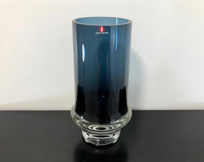 Tapio Wirkkala 3581 Blue Crystal Glass Vase (Tallest Model) - Finnish Mid-Century Modern Vintage Art Glass Design From Iittala, Finland