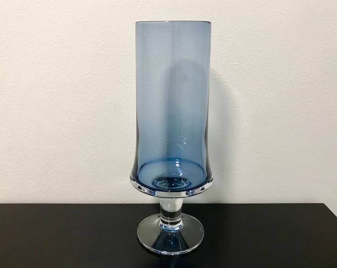 Tapio Wirkkala 2727 Blue Glass Vase (Taller) - Finnish Mid-Century Modern Vintage Art Glass Design From Iittala, Finland