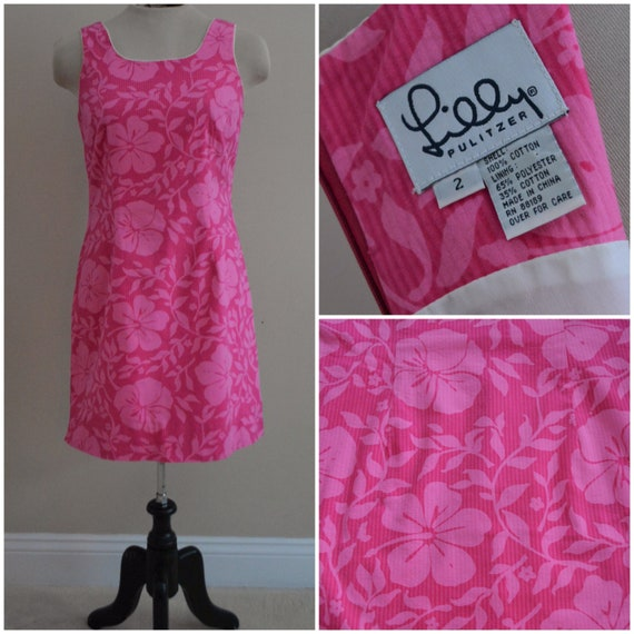 Vintage 1990s Lilly Pulitzer Hot Pink Floral Mini