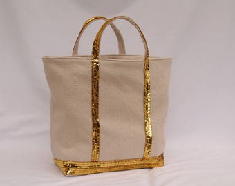 The bag in linen-cotton with sequins gold