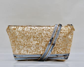 """Speckled"" gold Italian leather yellow and gold evening bag clear with blue gray sequins"