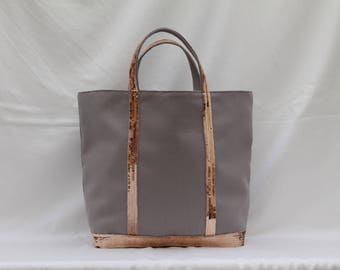 Tote bag in grey cotton with sequins gold rosé