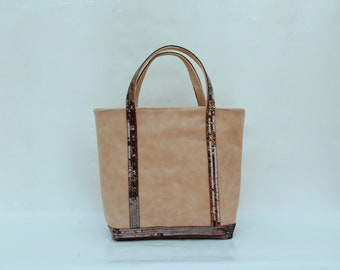 Tote bag, handbag, leather with taupe 100% leather sequins color accessory women AandMmilady