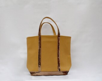 New shopping bag in 100% old yellow leather with sequins light bronze