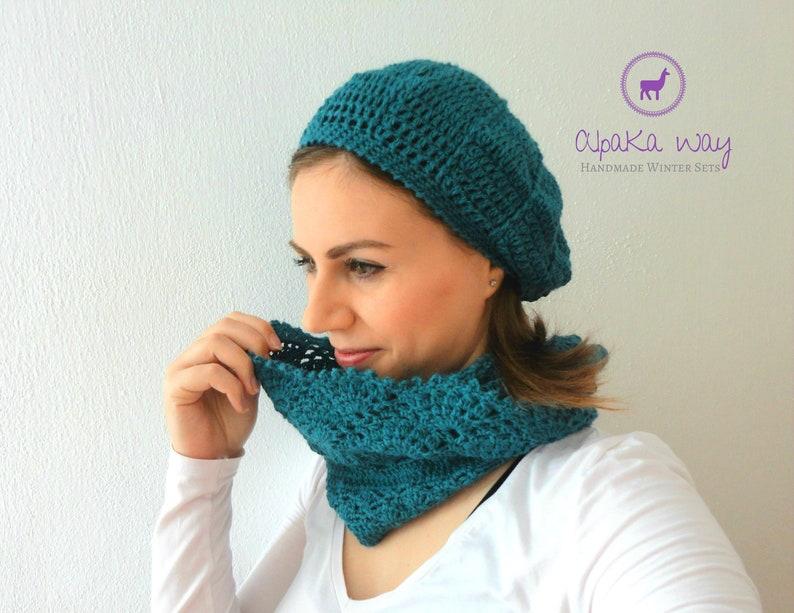 8c3c1e0805b Crochet winter set 100% alpaca wool    Alpaca beret and