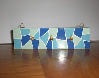 Mosaic blue and turquoise tea Towel holder