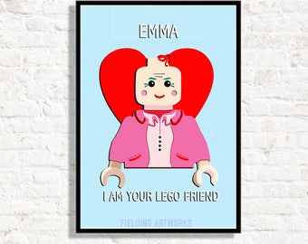 Childrens Personalised Bedroom Poster Lego Inspired Kids Print Personalise The Name For Boys And Girls