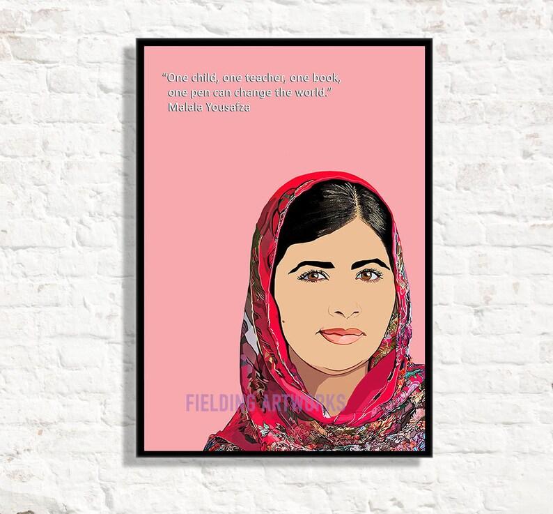 Malala Poster Famous Feminist Portrait  Fan Minimalist Home Decor Print