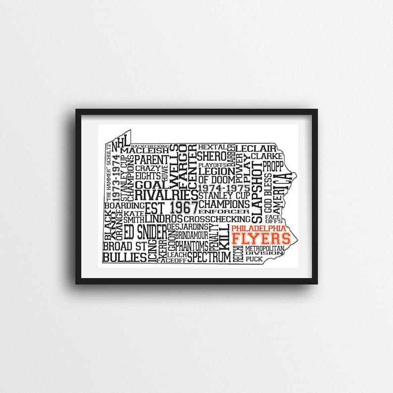 graphic about Philadelphia Flyers Printable Schedule titled Philadelphia Flyers Typography Wall Artwork