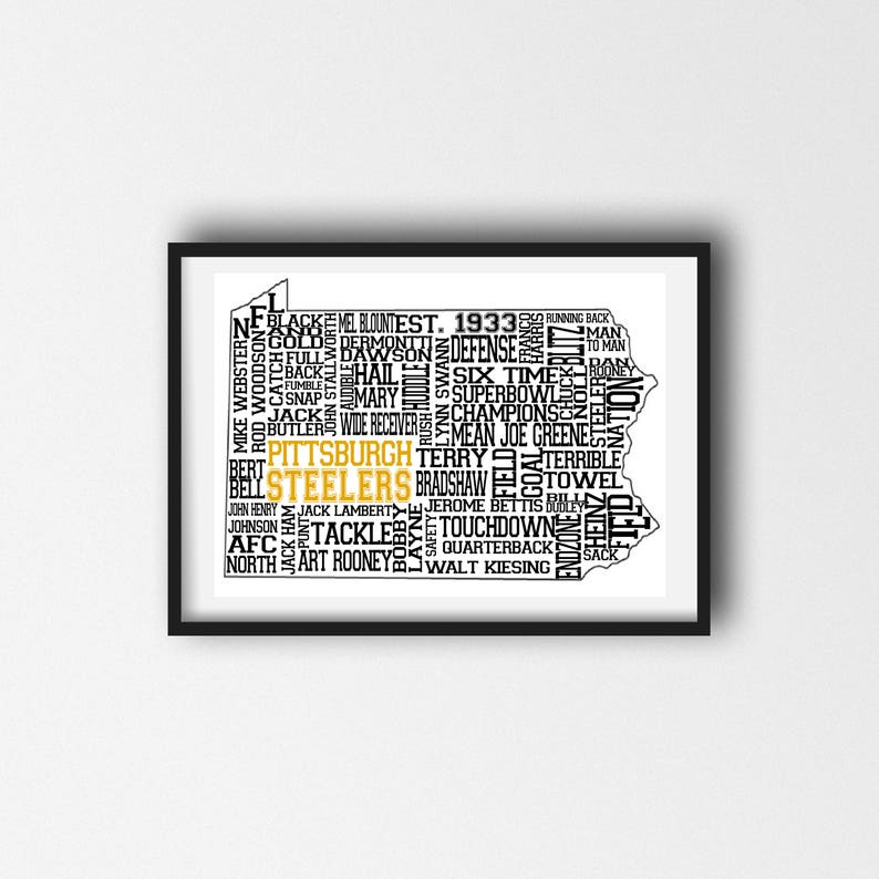 graphic regarding Pittsburgh Steelers Printable Schedule known as Pittsburgh Steelers Printable Wall Artwork