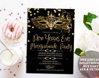 masquerade new years eve invitation mardi gras mask new years invite invitation template pdf editable neon glow in the dark