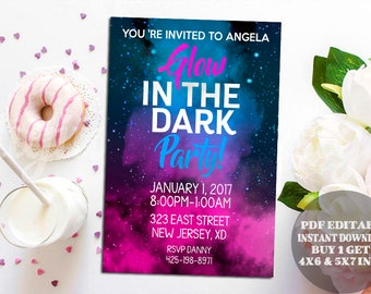 glow in the dark invitations new year invitation cheers to the new year printable template new years invitation new years pdf editable