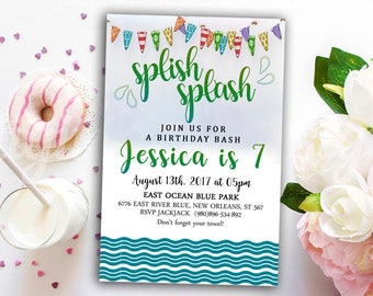 Pool party birthday Invitation, Spilsh splash invitation, Beach Party Birthday Invitation, Pool Party Invitation, Beach Birthday, WaterEvent