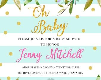 Personalized Baby Shower Invitation - Mint Green Invitations - Peoney Invitations - Gold Polka Dots Baby shower invitations - Party Invites
