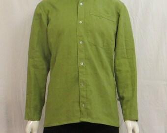 Mandarin collar long sleeve green linen shirt