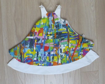 multicolored ruffle dress, tied at shoulders