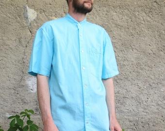 Mandarin collar, metis sky blue shirt