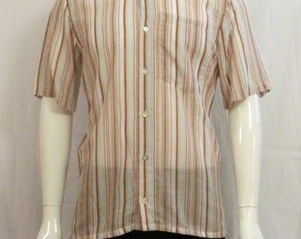 shirt sleeve cotton short Mandarin collar