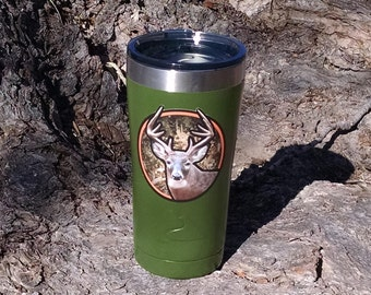 Deer hunter green 20 oz stainless steel tumbler