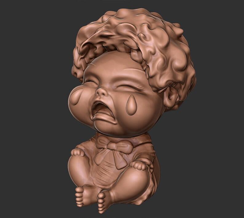 Crying Doll Desk Toy 3D print ready file (OBJ & STL)