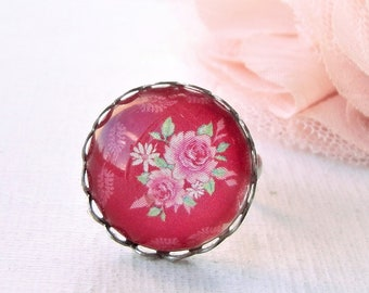 cabochon ring, glass cabochon ring, flower ring, pink flower ring, shabby ring,