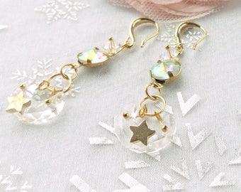 retro earring, gold earring, pearl glass earring,