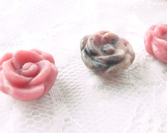 rhodonite flower pendant, pink stone, carved stone, diy, necklace, charm