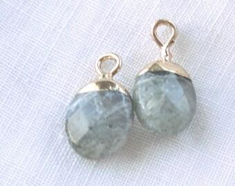 oval pendant labradorite stone, charm for jewelry, charm stone, necklace, diy,