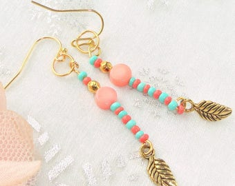 Earrings gold turquoise and coral, coral bead, seed bead, charm leaf kit ethnic earring.