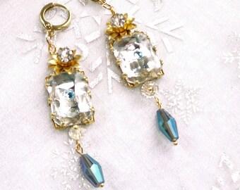 Woman, BO, vintage earring 18ct gold plated earring crystal earring