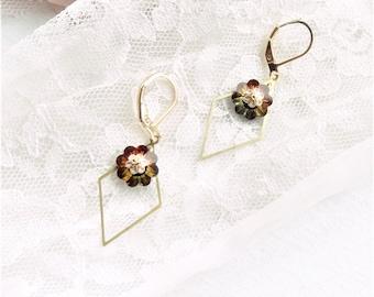 geometric earring, flower earring, flower earring, crystal earring, BO bohemian chic,